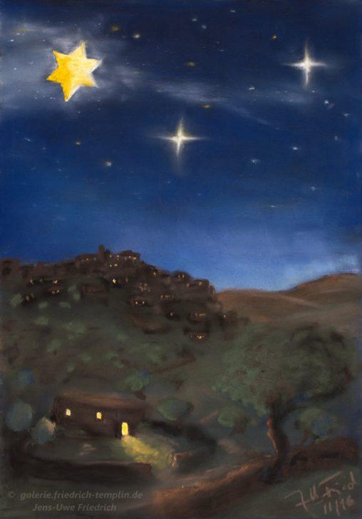 Postkarte Weihnachten in Bethlehem Pastell Galerie Jens-Uwe Friedrich