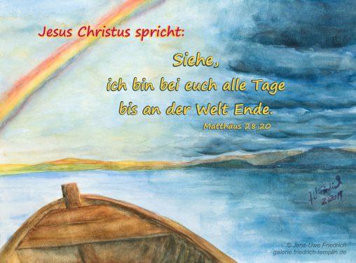 Jesus befiehl dem Sturm sich zu legen und Stille war da