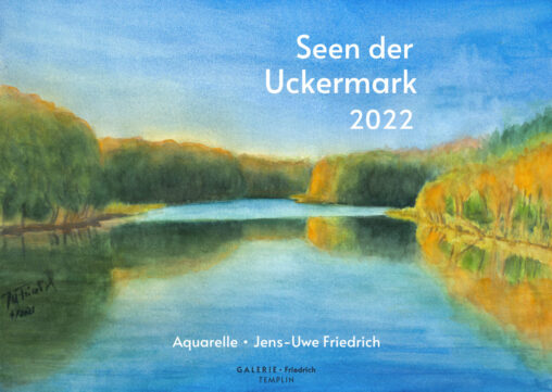 Kalender A3 - mit Aquarellen von Seen in der Uckermark